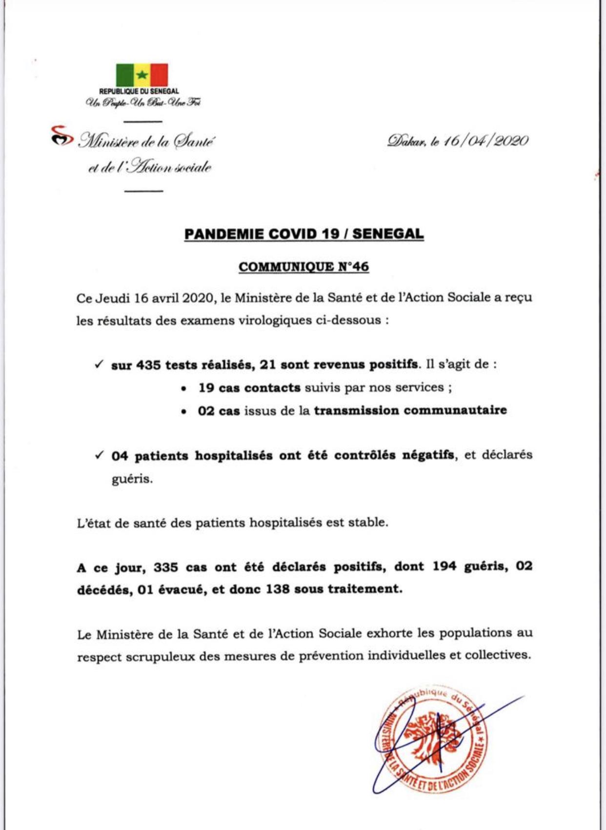 Institut Pasteur : 21 nouveaux cas testés positifs au coronavirus, 4 nouveaux guéris.