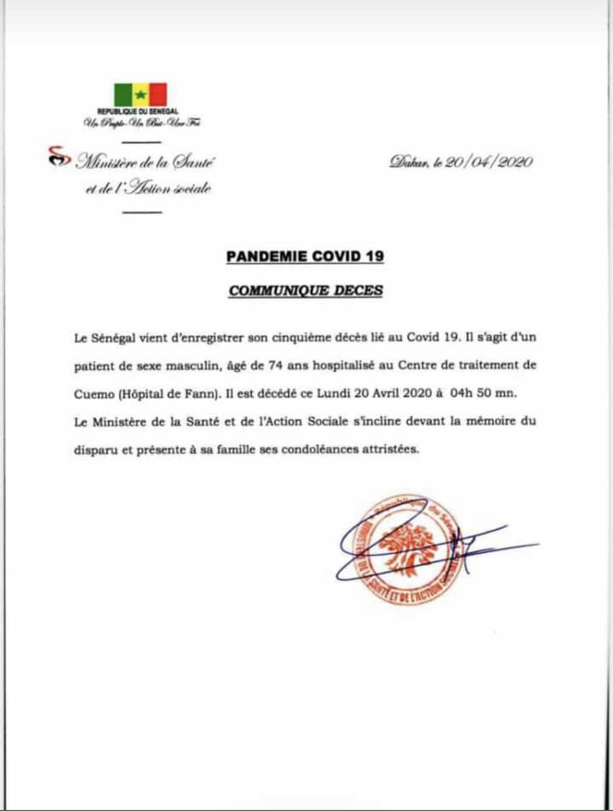 Urgent : Le Sénégal enregistre  un cinquième décès lié au Covid-19.