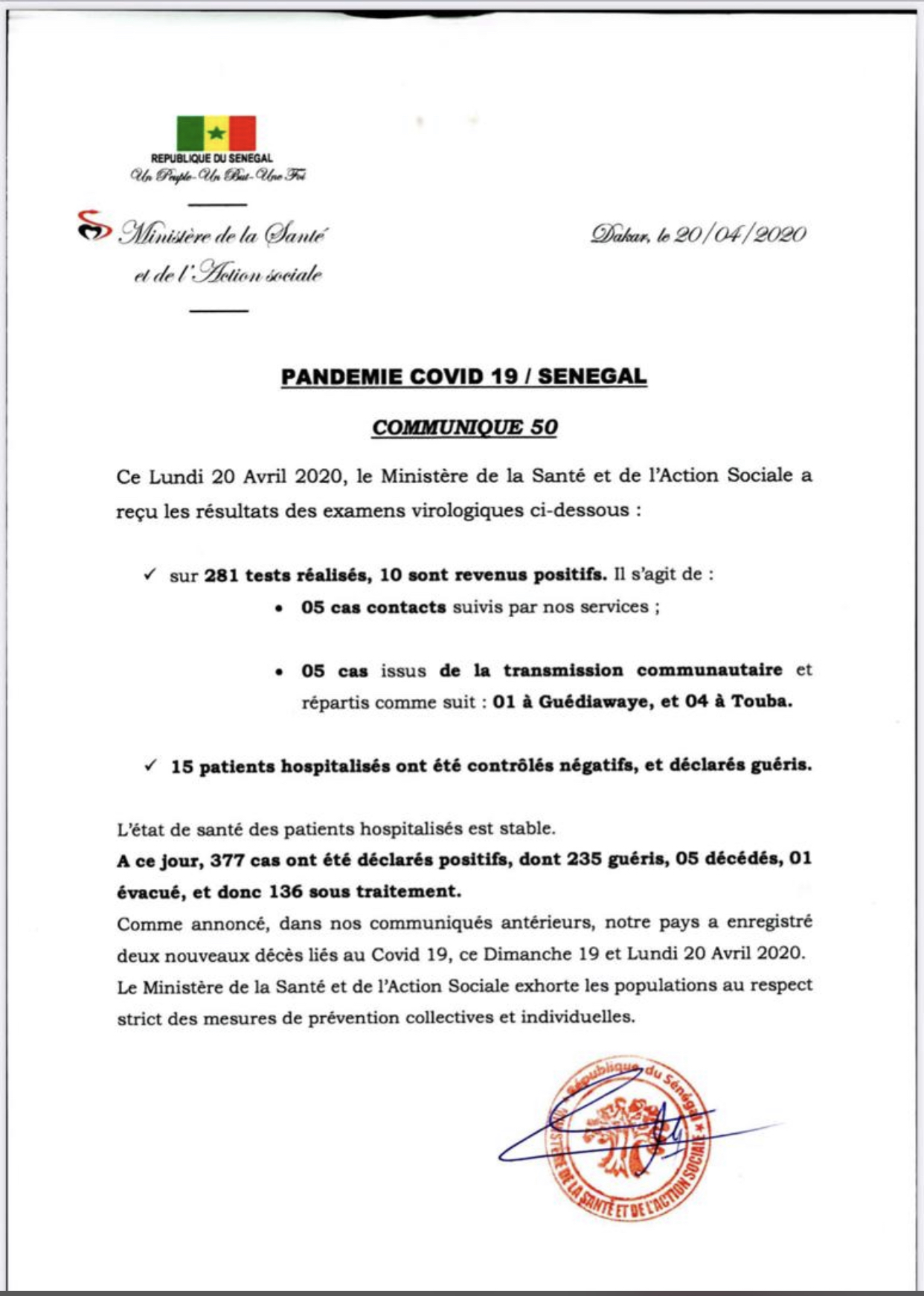 Institut Pasteur : 10 nouveaux cas testés positifs au coronavirus, 15 nouveaux guéris.