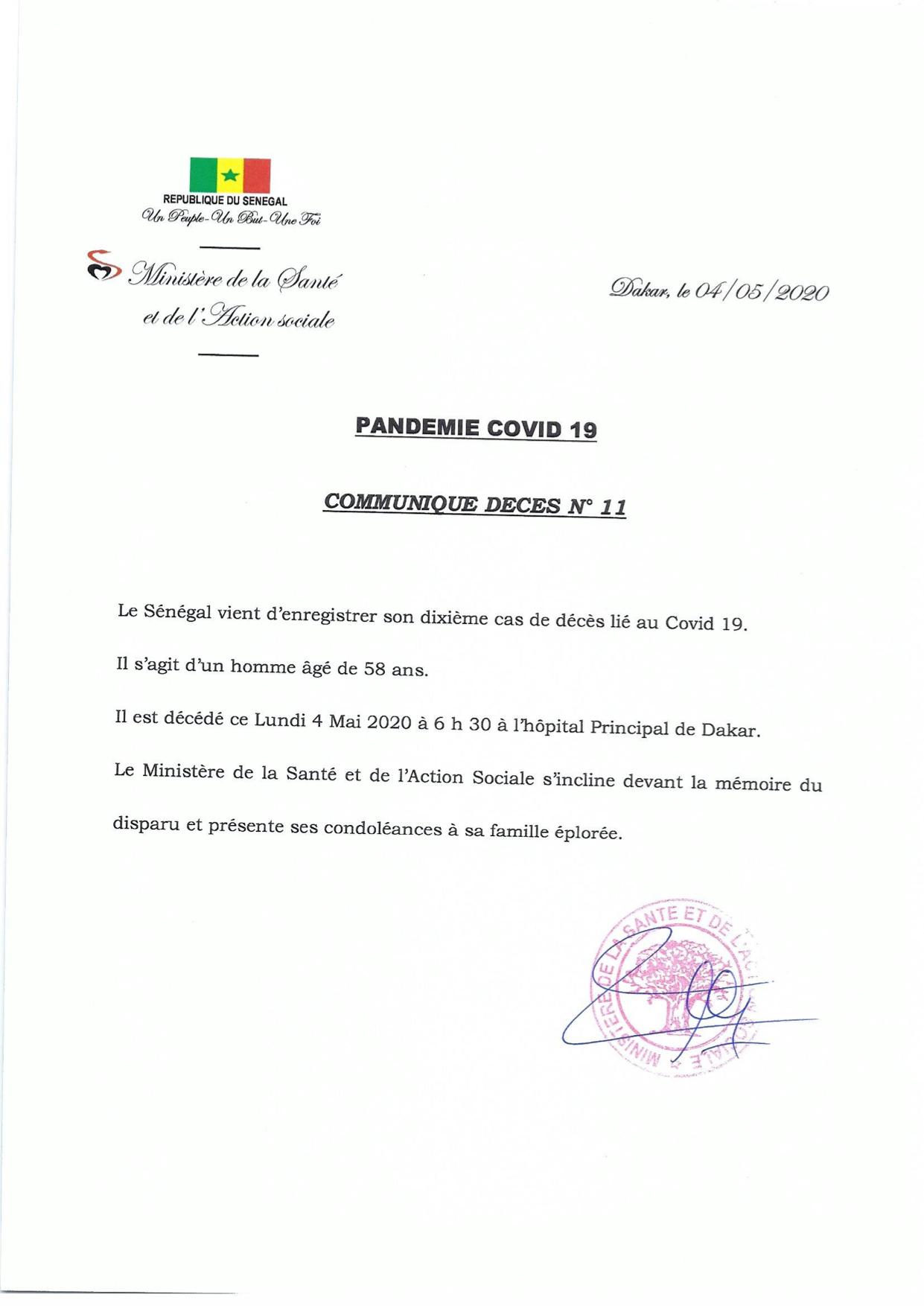 Covid-19 : Décès d'un homme de 58 ans à l'hôpital Principal de Dakar
