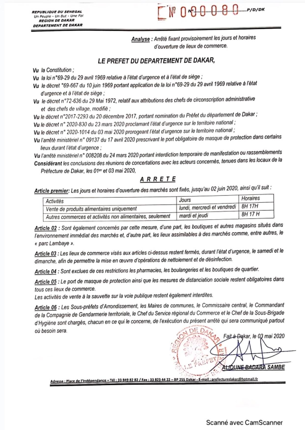 DAKAR : Le Préfet met en vigueur l'arrêté sur les jours et horaires d'ouverture des marchés jusqu'au 2 Juin 2020.