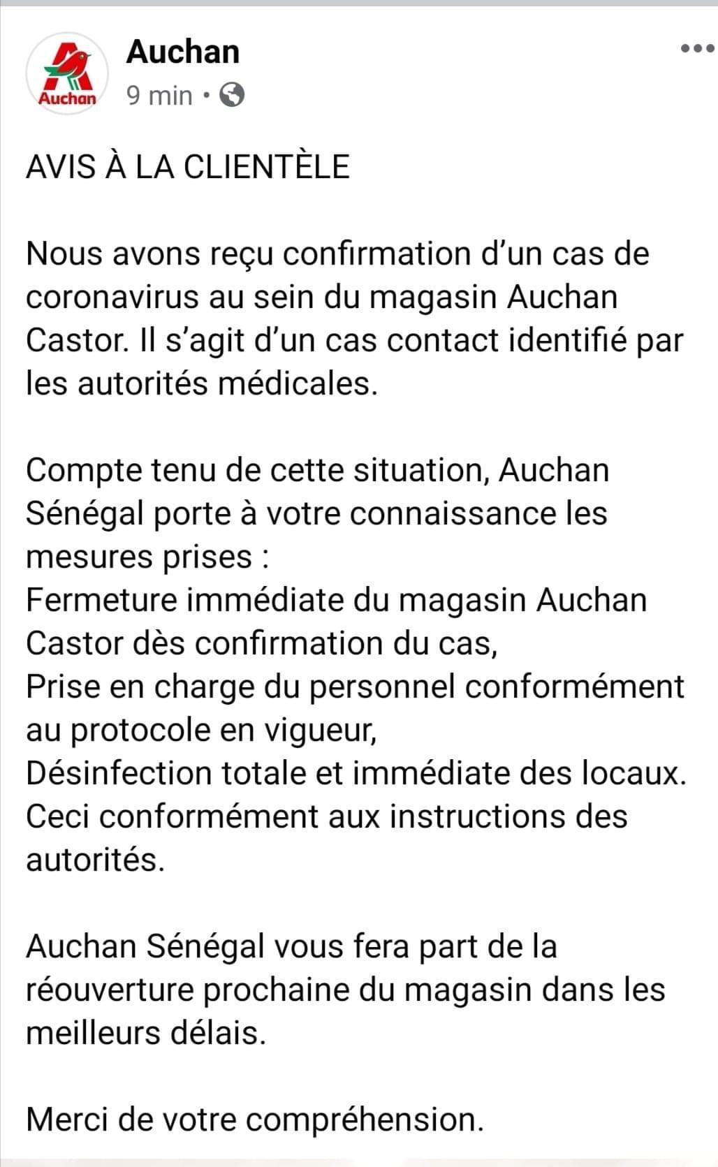 Un employé contaminé : Auchan ferme son magasin à Castor.