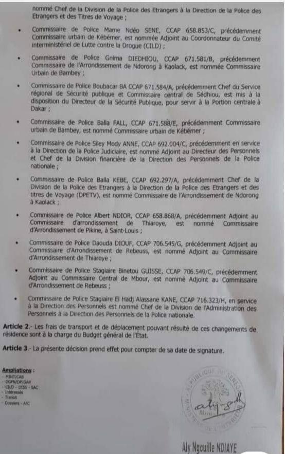 Nominations : Aly Ngouille Ndiaye chamboule la Police (DOCUMENTS)