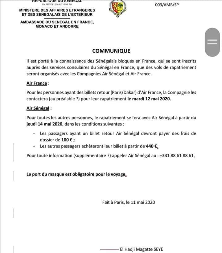 Covid-19 / Sénégalais bloqués en France : rapatriement ce mardi et Jeudi