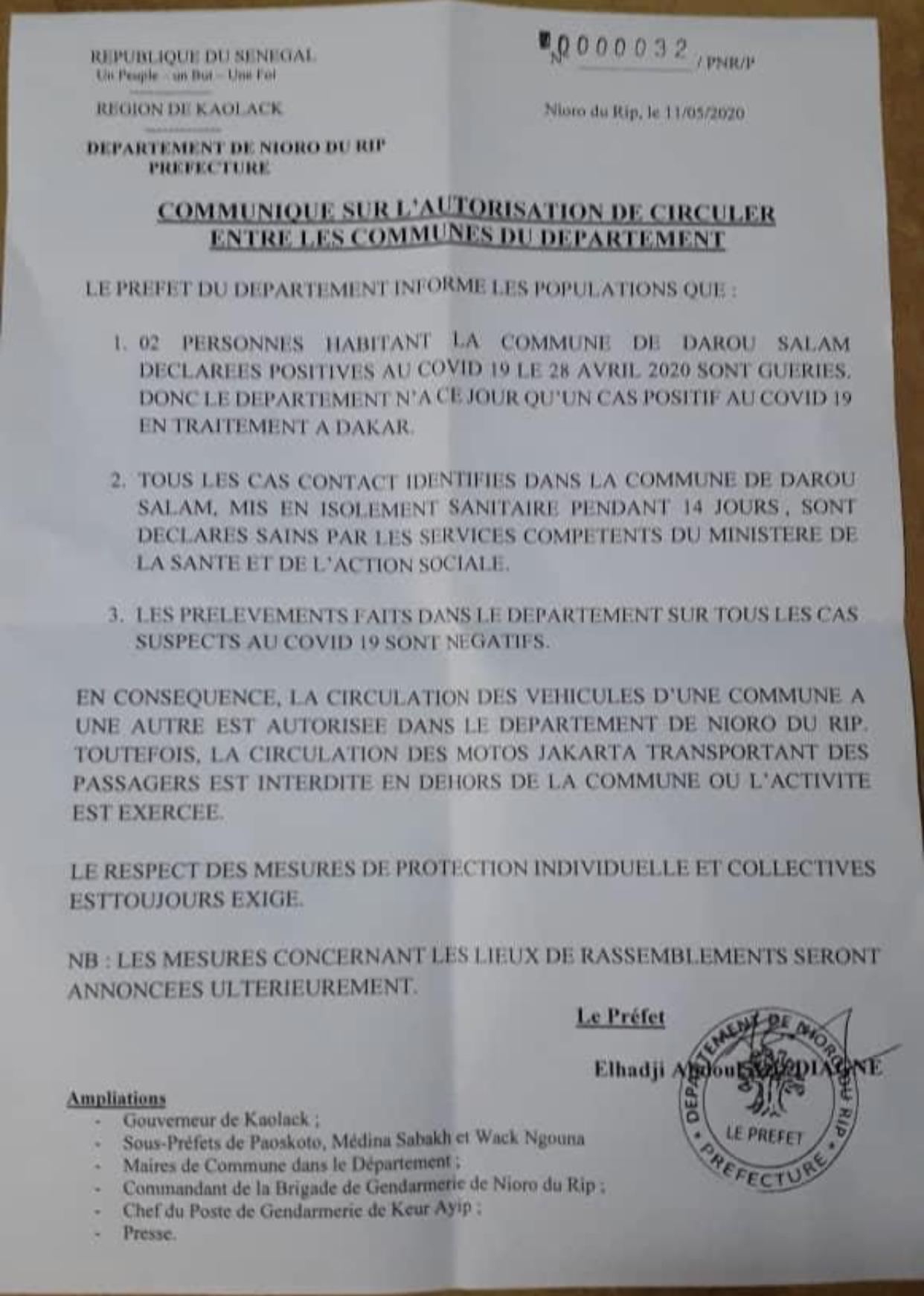 Cas contacts revenus négatifs / 2 malades guéris :  Le préfet de Nioro lève l'interdiction de circulation des véhicules d'une commune à une autre (document).