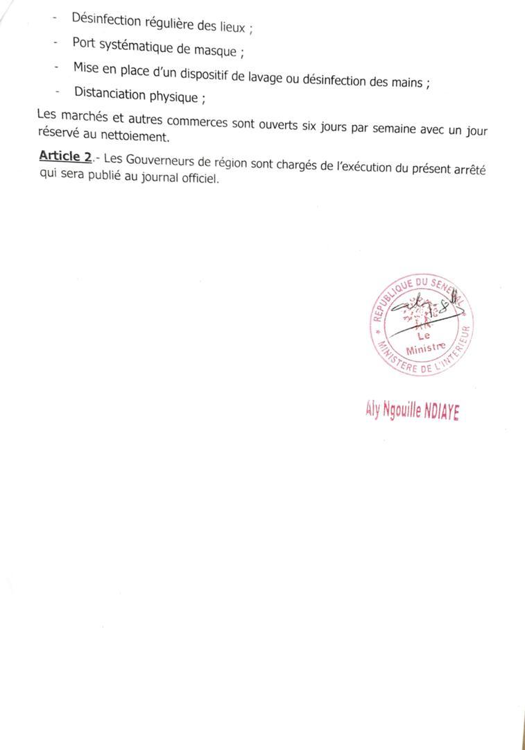 Covid-19 : Aly Ngouille Ndiaye maintient les interdictions de circulation interurbaine et fait des précisions sur les rassemblements. (ARRÊTÉ)