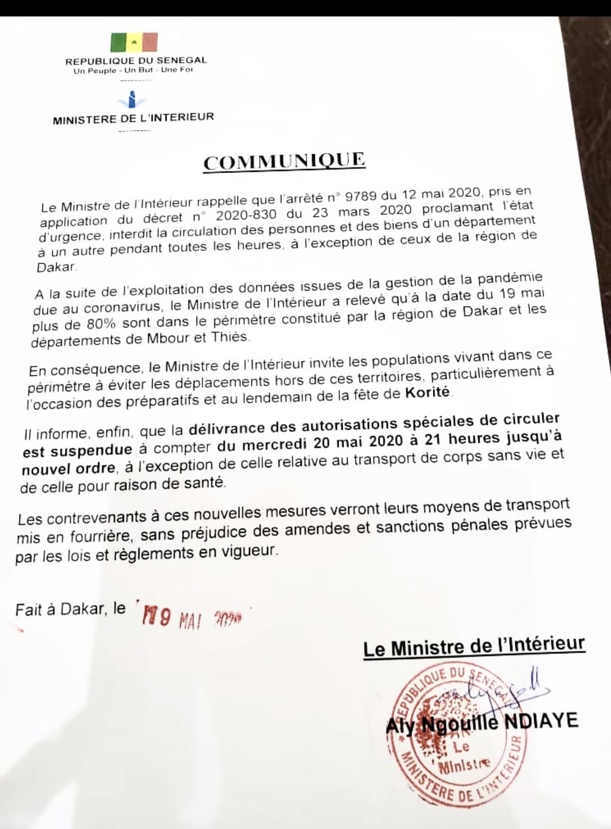 CIRCULATION INTERURBAINE : Le ministre de l'intérieur annule la délivrance des autorisations. (DOCUMENT)