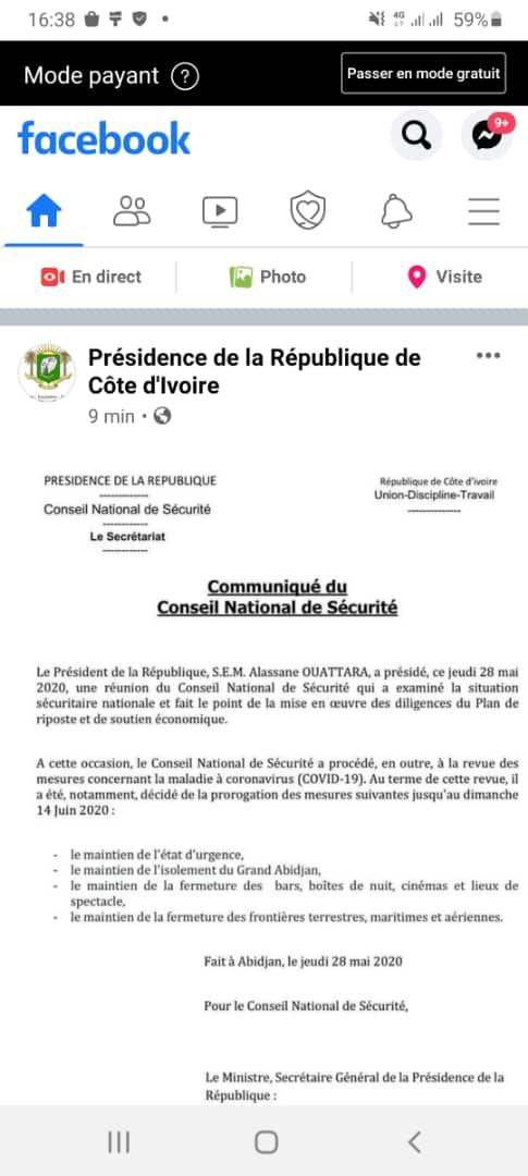 COVID-19 EN CÔTE D'IVOIRE : Le président Alassane Ouattara maintient l'état d'urgence jusqu'au 14 Juin prochain (DOCUMENT)