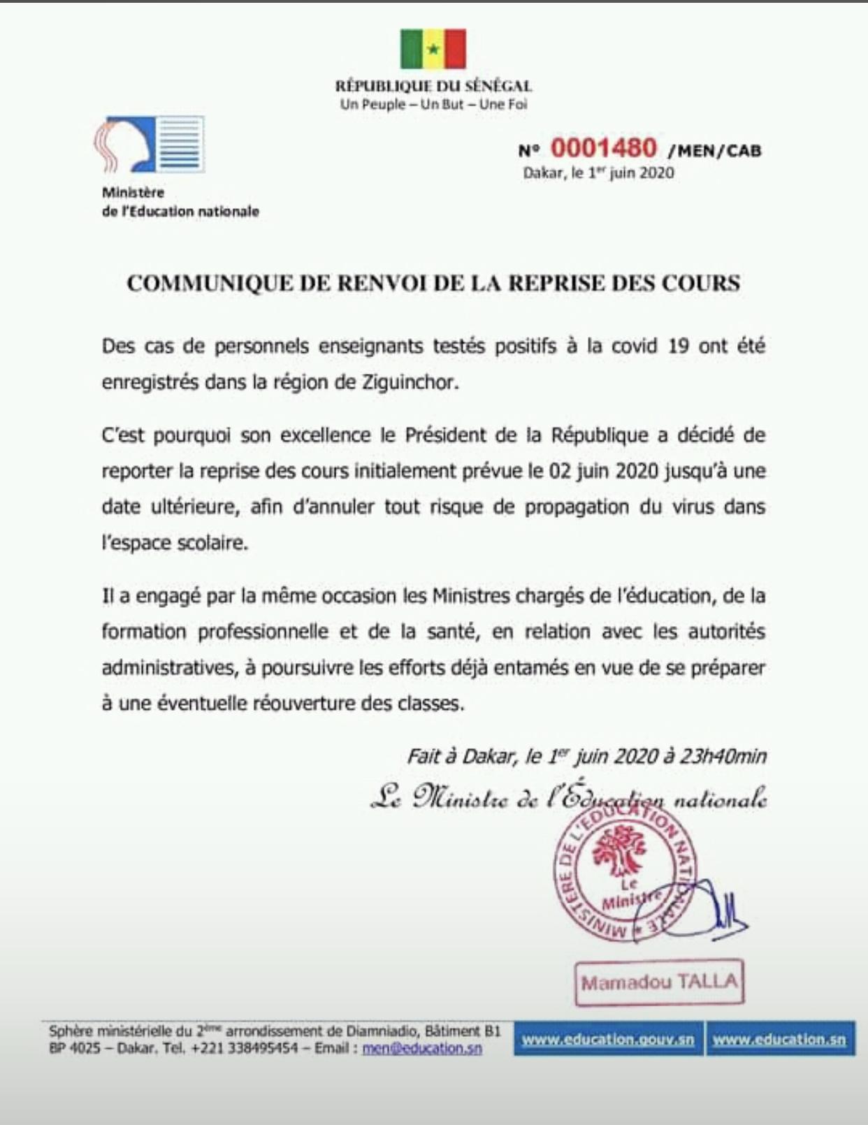 COVID-19 / SÉNÉGAL : Report de la reprise des cours initialement prévue demain mardi 2 Juin 2020.
