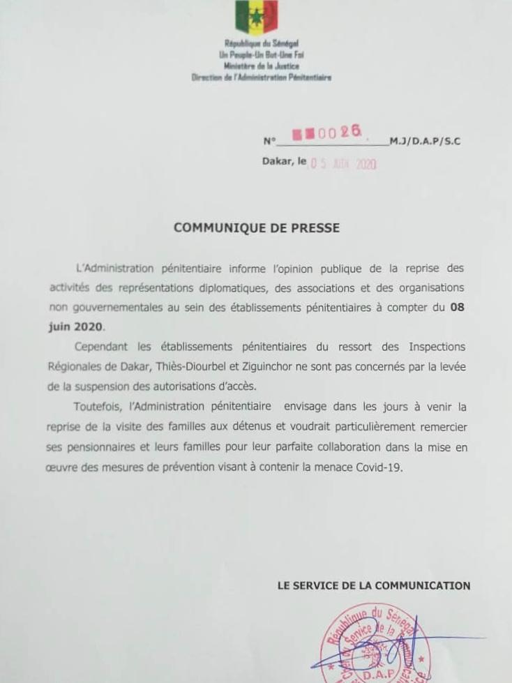 SÉNÉGAL : Reprise des activités dans les établissements pénitentiaires à partir du 8 Juin 2020. (DOCUMENT)