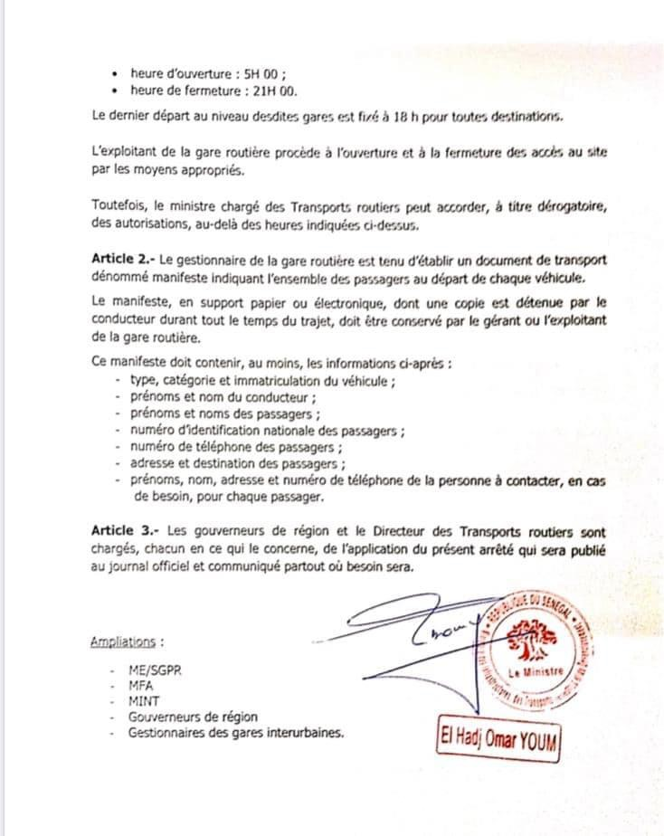 COVID-19 AU SÉNÉGAL : L'arrêté fixant les règles d'exploitation des gares routières interurbaines. (DOCUMENT)