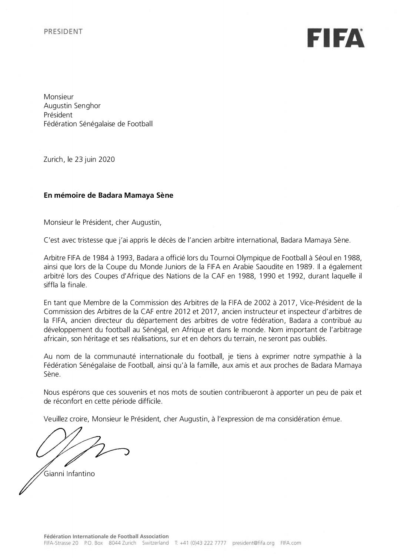 Disparition de Badara Mamaya Sène : Les condoléances du président de la FIFA, Gianni Infantino, à la FSF.