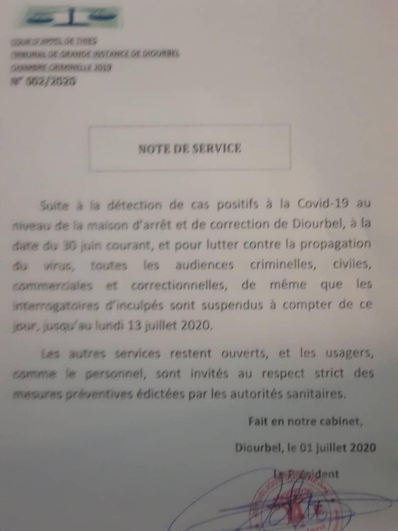 TRIBUNAL DE DIOURBEL / La pandémie de la Covid19 suspend les audiences jusqu'au 13 juillet 2020.