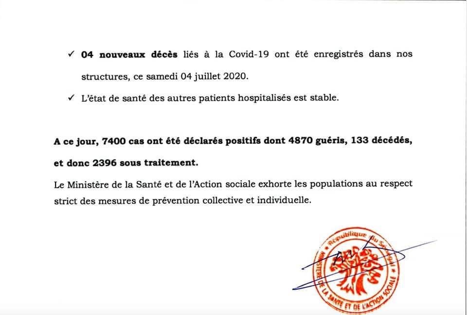 SÉNÉGAL : 126 nouveaux cas testés positifs au coronavirus, 157 nouveaux guéris, 4 nouveaux décès et 48 cas graves en réanimation.