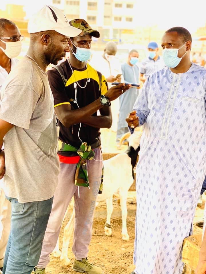 APPROVISIONNEMENT EN MOUTONS DE TABASKI : Le Ministre de l'élevage et des productions animales Samba Ndiobene Ka visite le point de vente de Yoff.