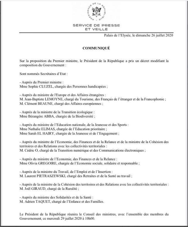 France- Gouvernement : 11 secrétaires d'Etat nommés