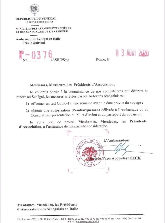COVID-19 : Les Sénégalais résidents en Italie qui désirent rentrer au pays doivent désormais présenter un test. (DOCUMENT)