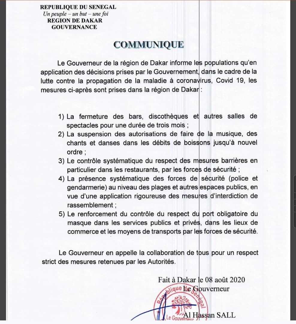 COVID-19 / Mesures restrictives : Le Gouverneur de Dakar ferme les bars, les discothèques et les salles de spectacle pour 3 mois. (DOCUMENT)