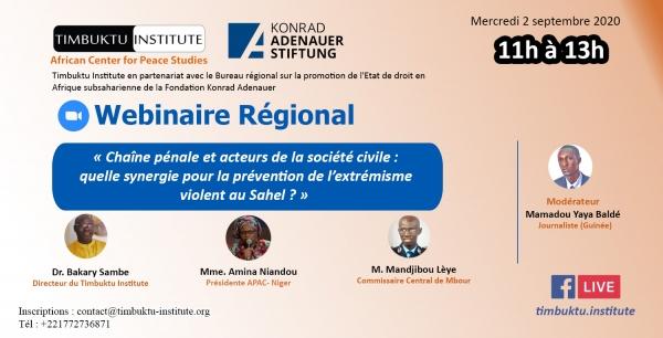 Lutte contre le terrorisme au Sahel : un webinaire régional pour promouvoir le dialogue entre justice pénale et société civile.