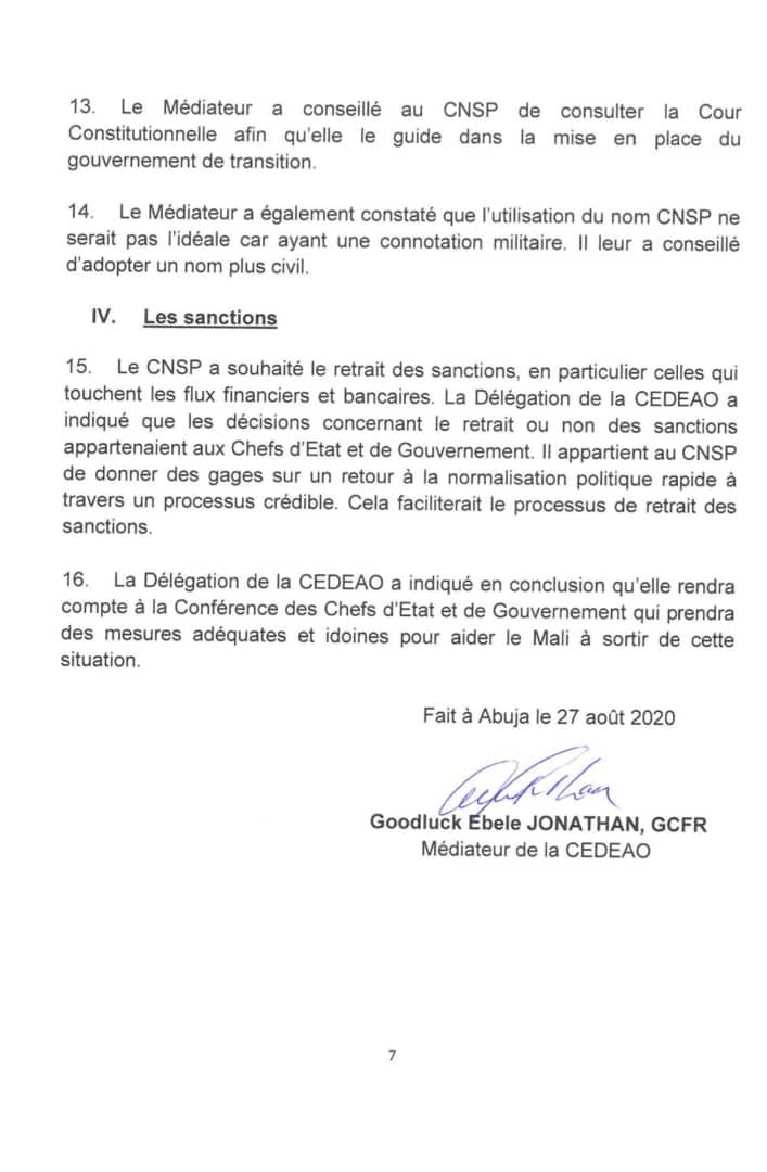 Crise au Mali : Voici le rapport de mission du médiateur de la CEDEAO Goodluck Jonathan (DOCUMENTS)