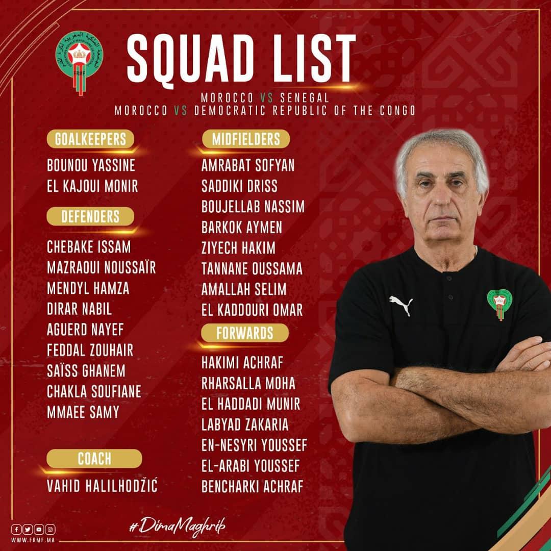 Amical Maroc – Sénégal : Vahid Halilhodzic dévoile une liste de 26 joueurs.