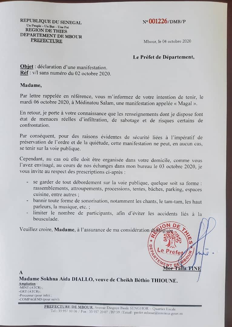 Magal à Medinatoul Salam : Le Préfet de Mbour interdit la voie publique à Sokhna Aïda DIallo.