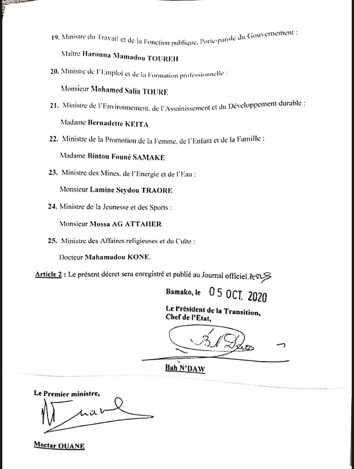 MALI : Le président de la transition Bah Ndaw nomme un nouveau Gouvernement. (DOCUMENT/LISTE)