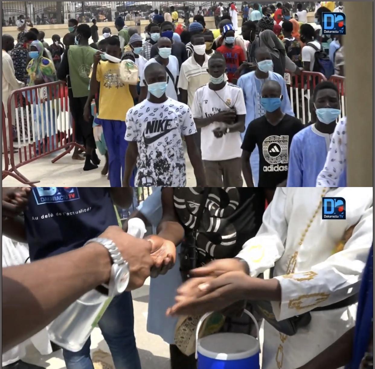 Port du masque, gel hydroalcoolique, distanciation sociale… : À Touba, le respect des mesures sanitaires à l'épreuve du Grand Magal.