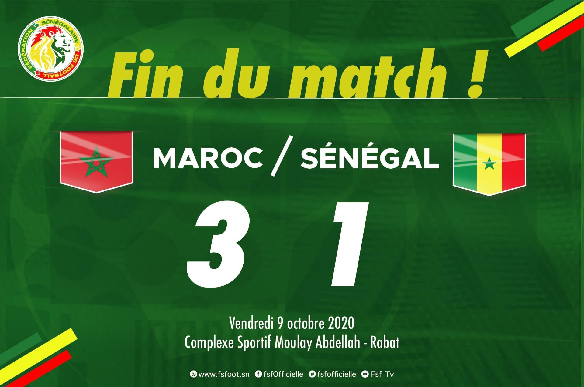 """Football / Amical : Les """" Lions """" s'inclinent lourdement 1-3 face au Maroc"""