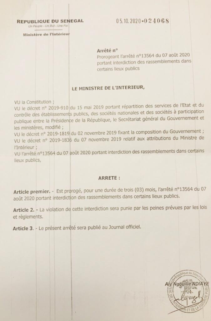Lutte contre la Covid-19 : L'interdiction des rassemblements dans certains lieux publics prorogée jusqu'en janvier 2021.