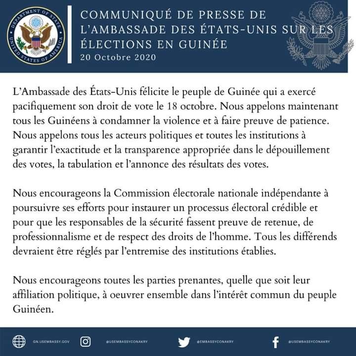 Présidentielle en Guinée Conakry : Les mises en garde des Usa à la CENI, aux forces de l'ordre.