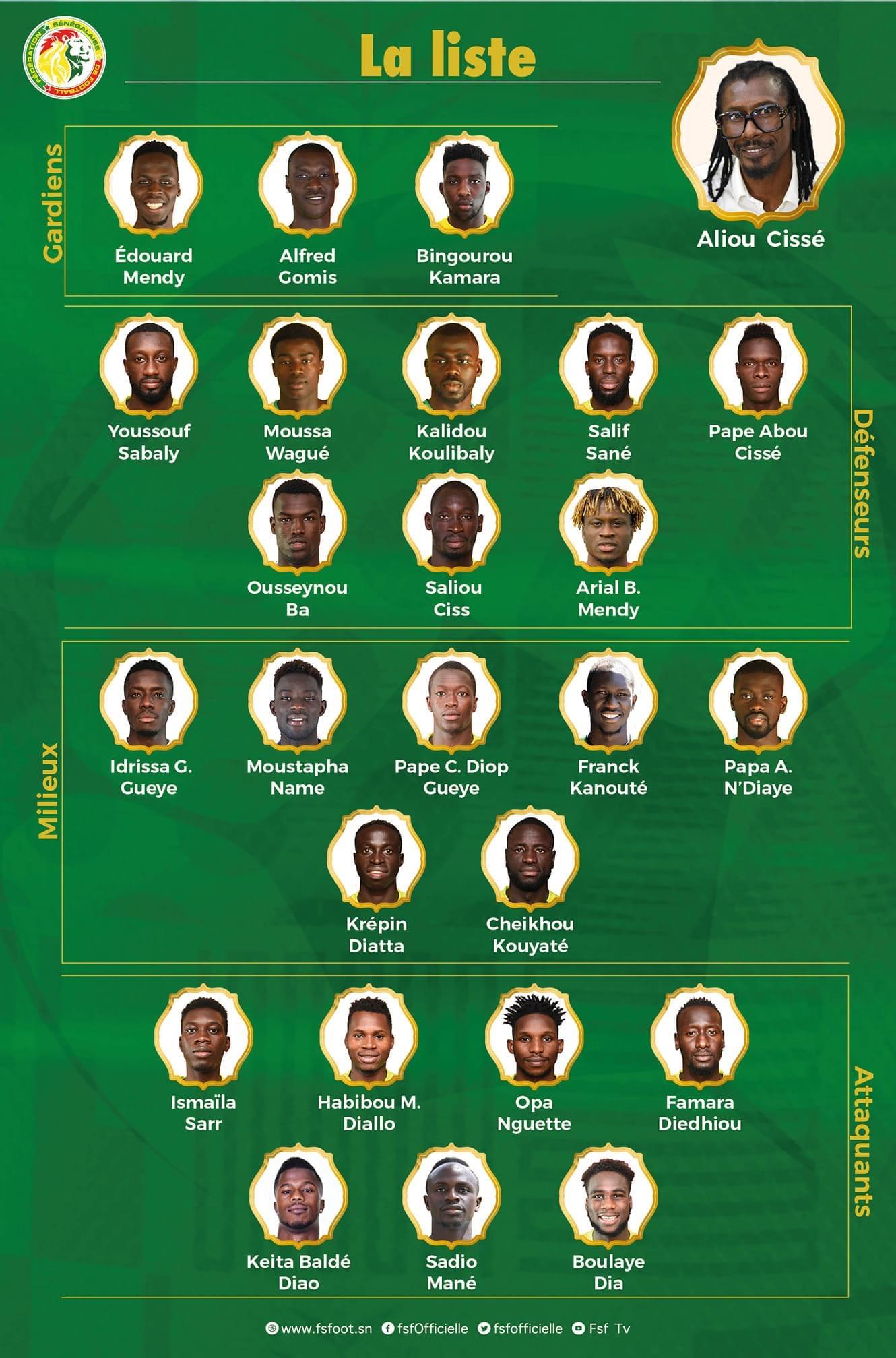 Eliminatoires de la CAN : Aliou Cissé publie la liste des Lions convoqués.