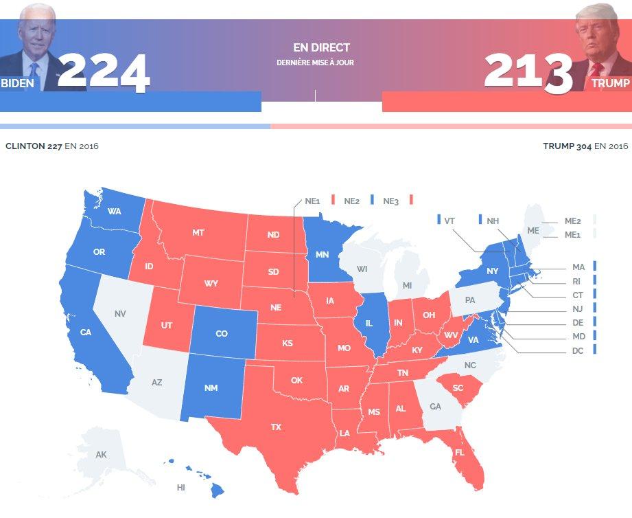 Election américaine : le point sur les Etats déjà remportés par Trump et Biden.