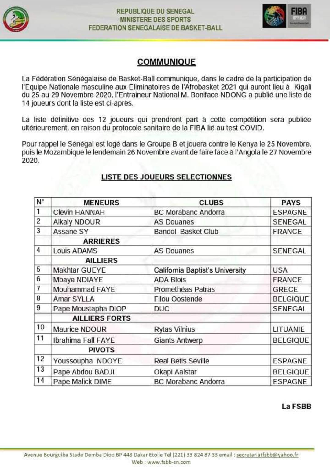 Éliminatoires Afrobasket 2021 : Boniface Ndong réduit sa liste à 14 joueurs, Gorgui Sy Dieng et Tacko Fall absents...