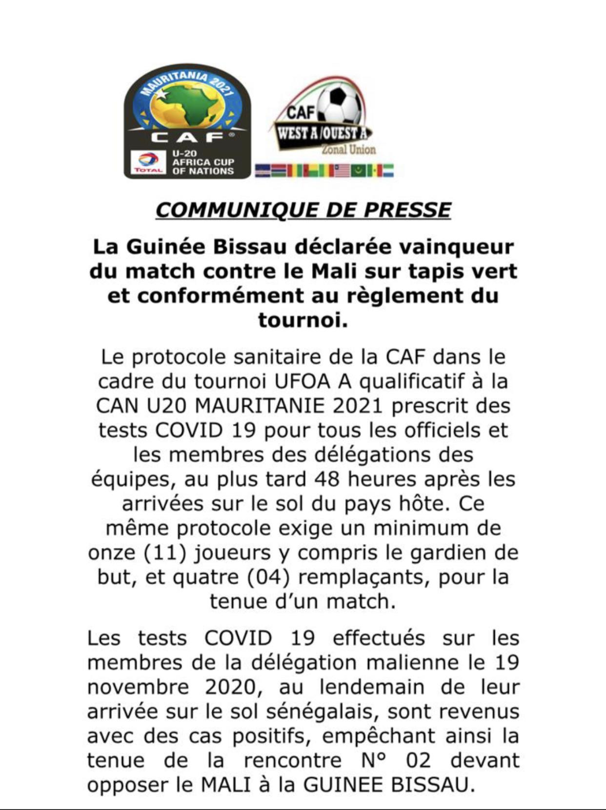 UFOA U20 : La Guinée Bissau déclarée vainqueur contre le Mali sur tapis vert à cause de la Covid-19.