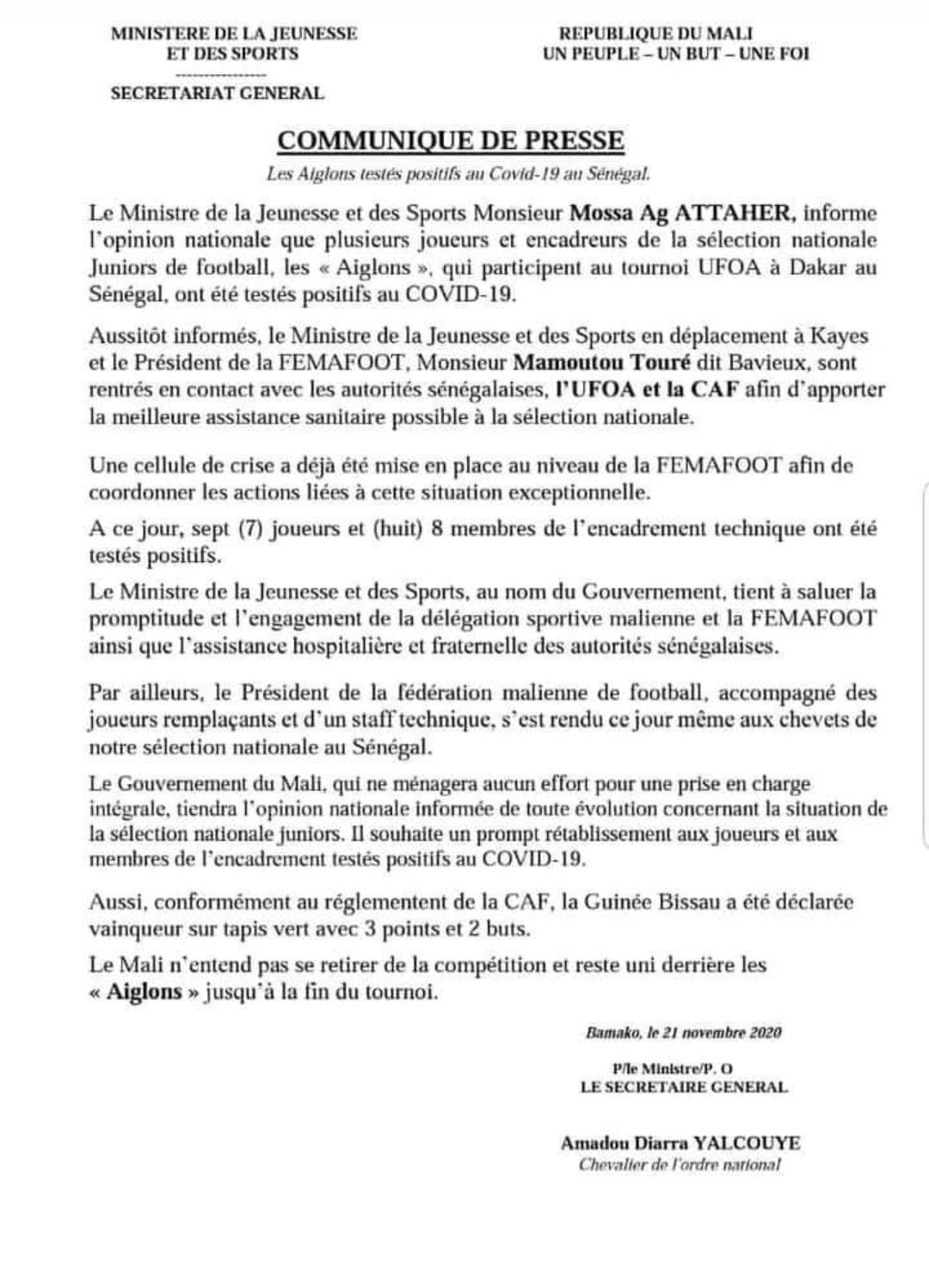 UFOA U20 : Le ministère des Sports Malien confirme 15 cas de Covid-19 dont 7 joueurs et déploie une cellule de crise.