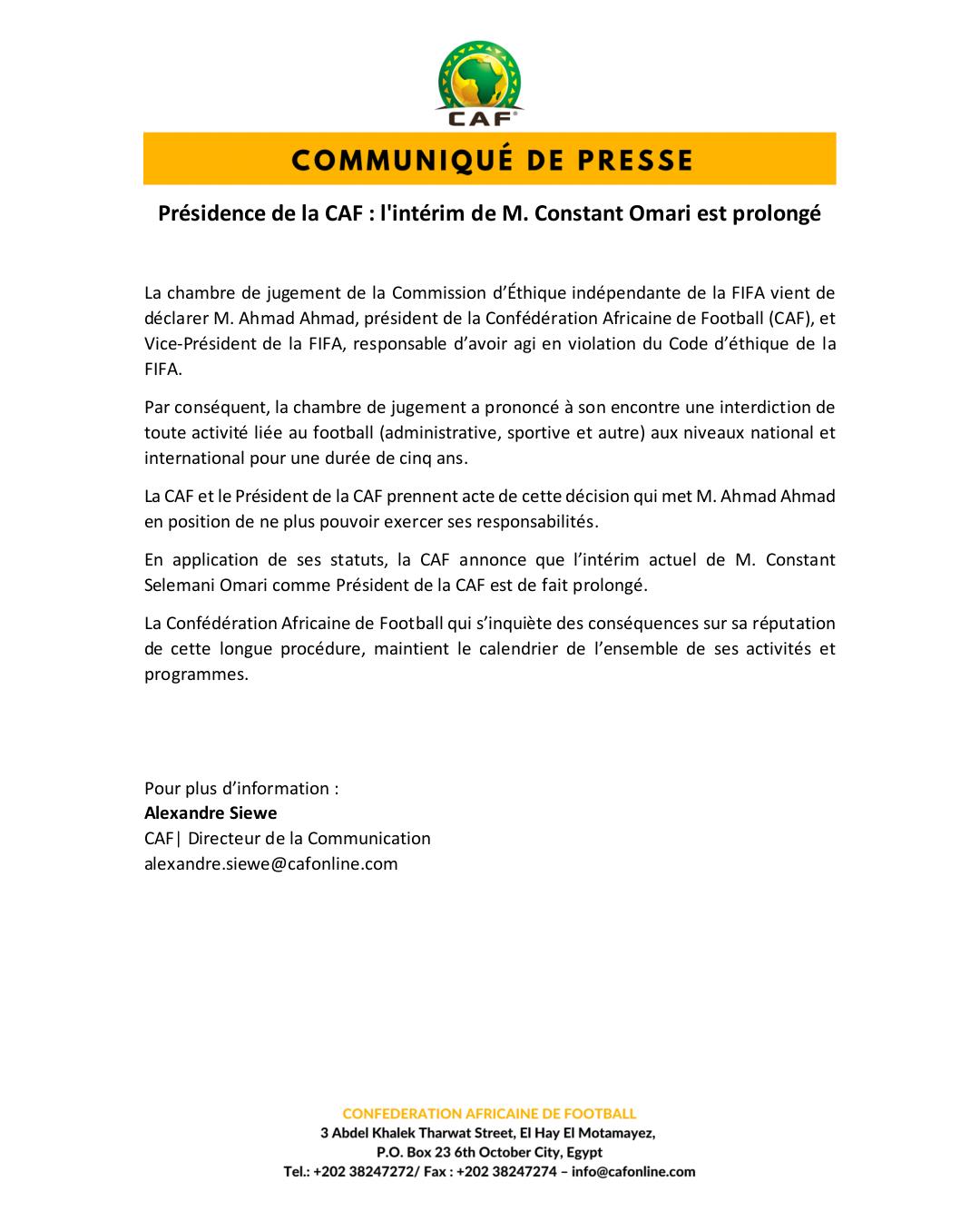 Présidence de la CAF : conséquences de la suspension d'Ahamd Ahmad, Constant Omari continue l'intérim (document)