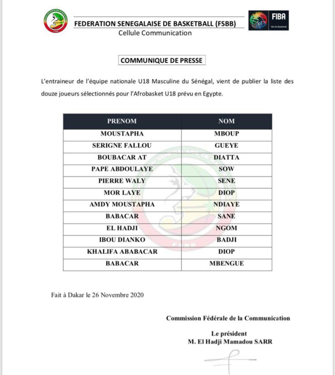 Afrobasket U18 Egypte 2020 : Une liste de 12 lionceaux dévoilée par Madiène Fall