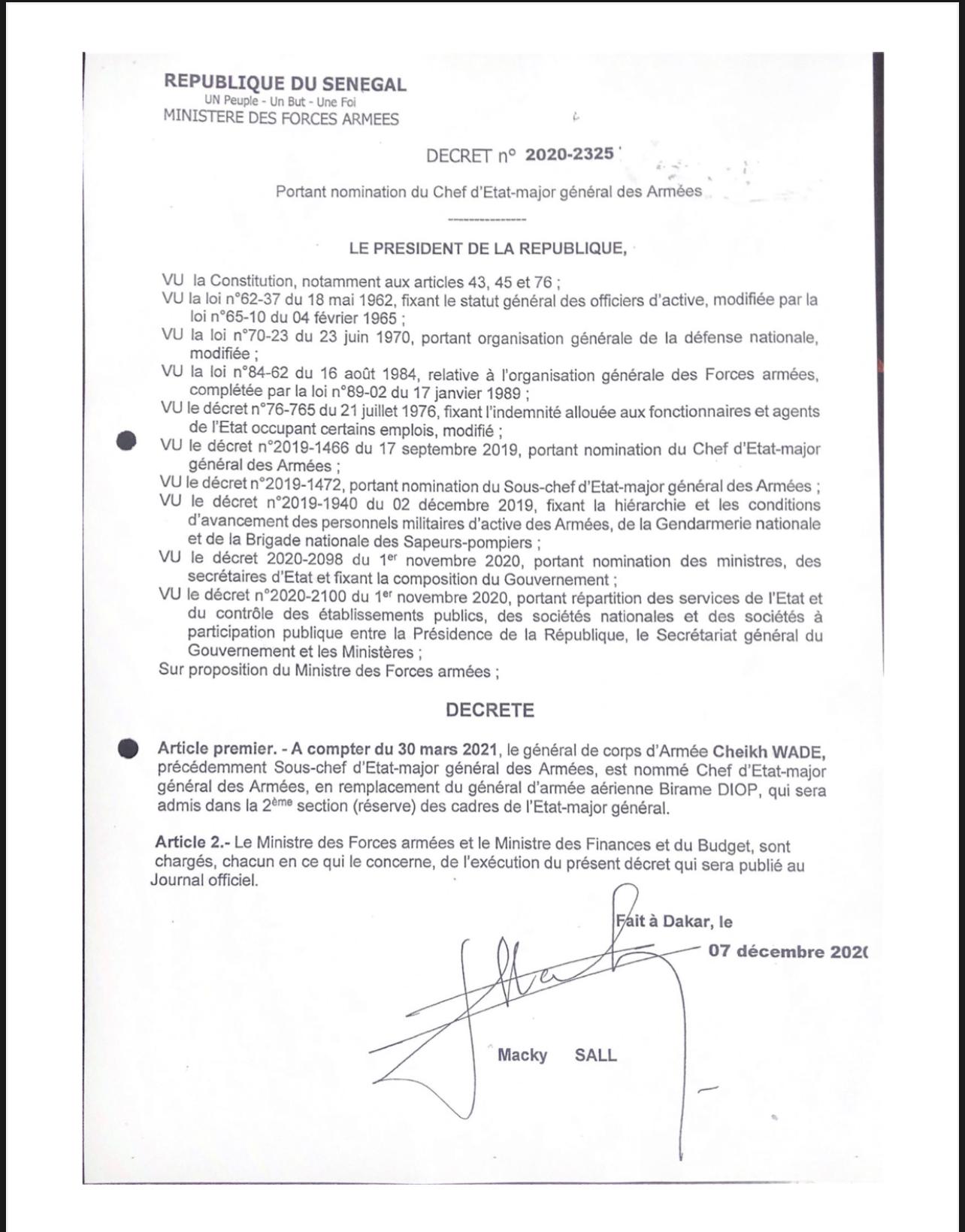 ARMÉE SÉNÉGALAISE : Le Général Cheikh Wade nommé CEMGA. (DÉCRET)