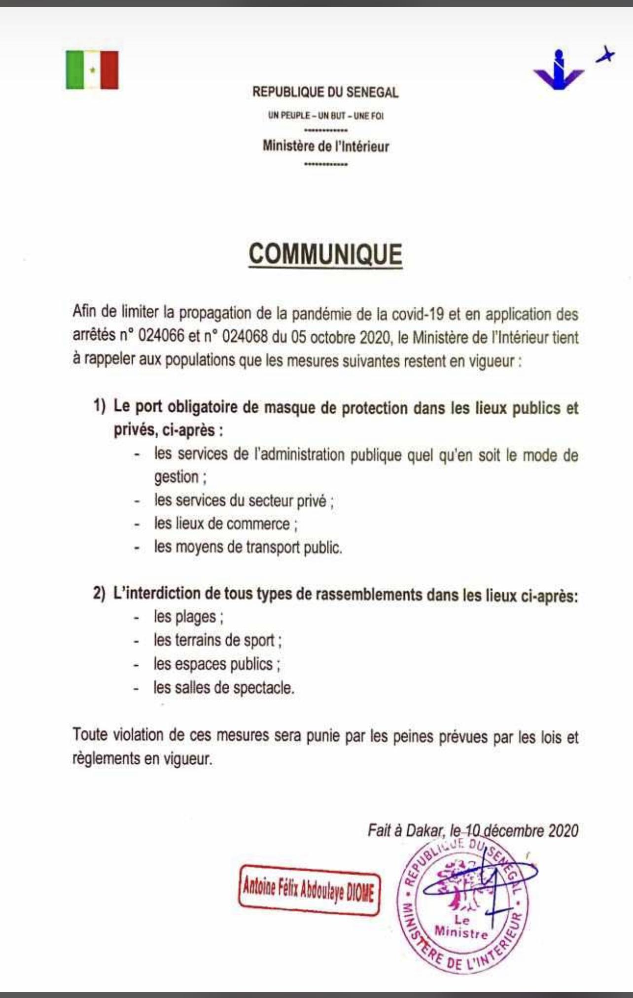 Lutte contre la Covid-19 : Les nouvelles mesures prises par le ministre de l'intérieur (DOCUMENT)