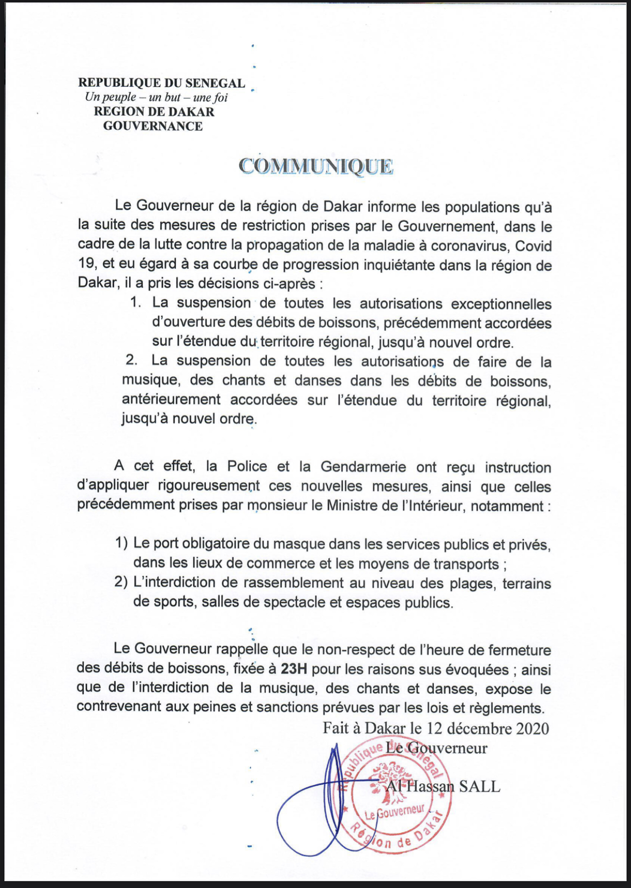 Mesures contre la COVID-19 : Le Gouverneur de Dakar corse les choses et avertit les récalcitrants. (DOCUMENT)