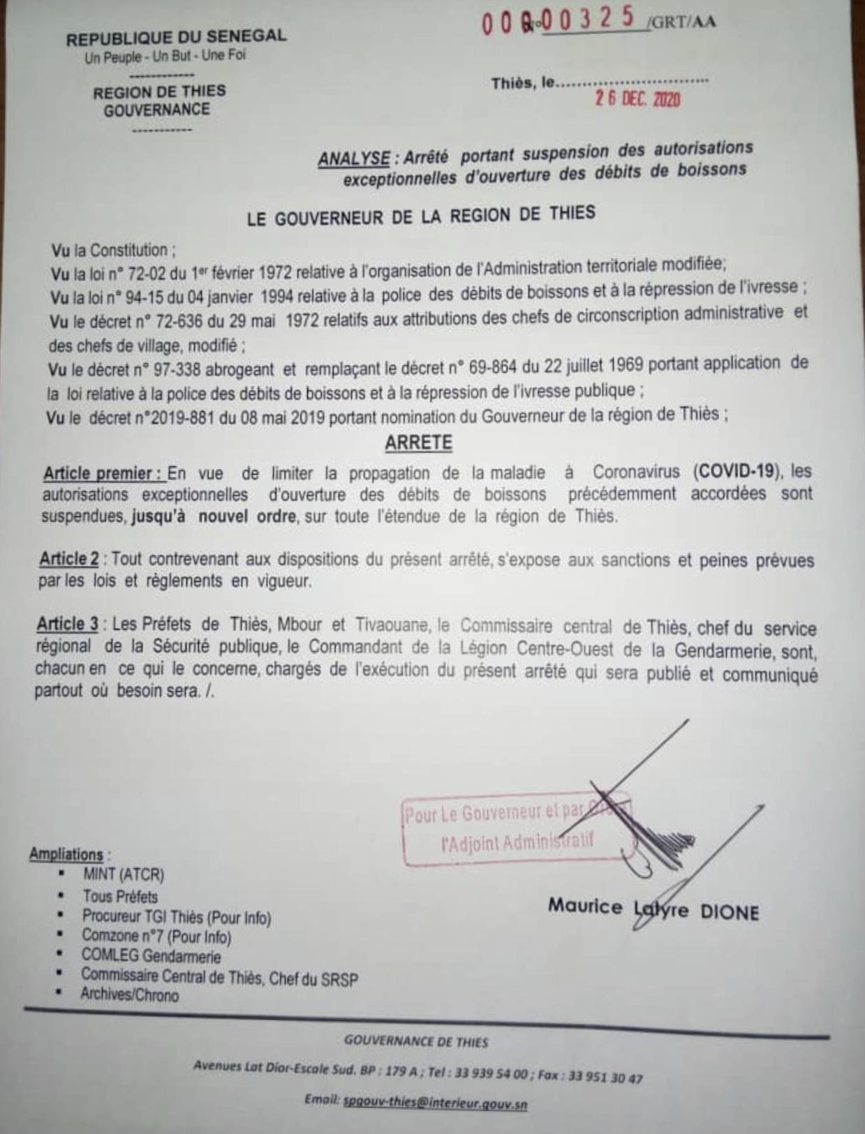 Covid-19 à Thiès : Le Gouverneur ferme les débits de boissons... (DOCUMENT)