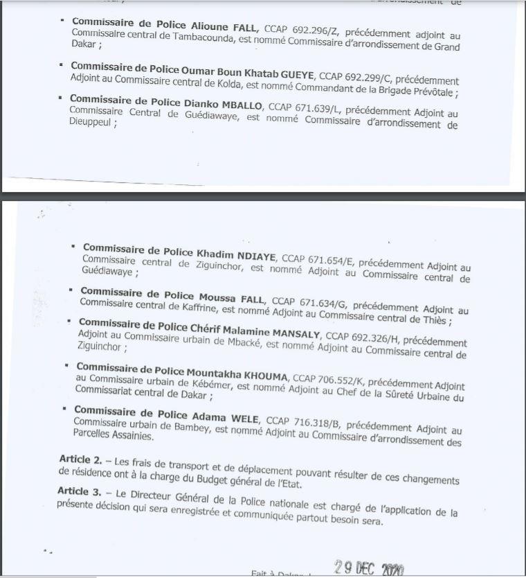 Mouvements au sein de la Police : Antoine Diome promeut plusieurs adjoints aux commissaires