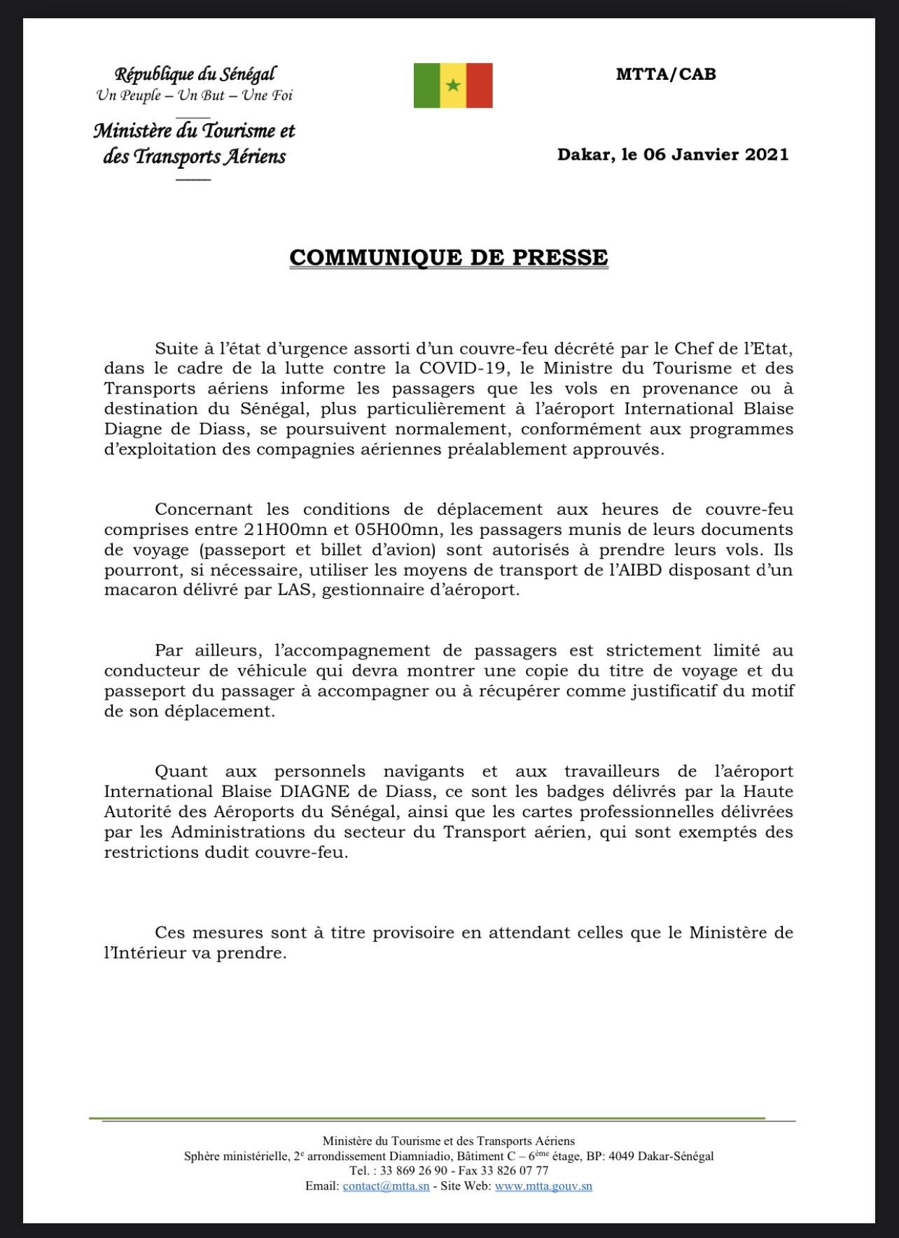 Couvre-feu : les vols en provenance ou à destination du Sénégal se poursuivent. (DOCUMENT)