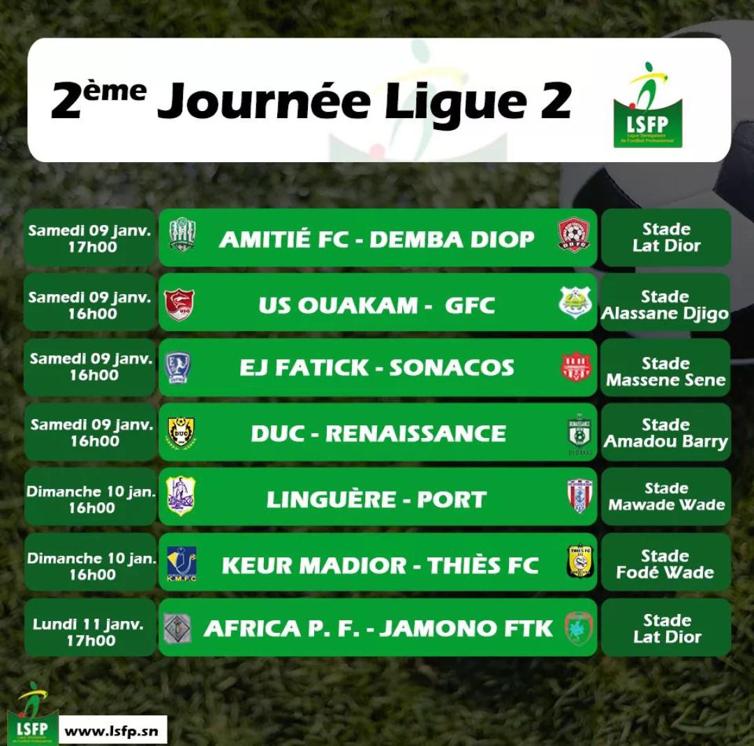 Ligue 2 / Au menu du programme de la 2ème journée : Keur Madior - Thiès FC, US Ouakam - GFC et Duc - Renaissance.