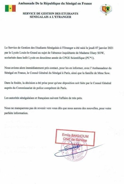 Disparition de Diary Sow : Les autorités sénégalaises et françaises suivent l'affaire de très près...