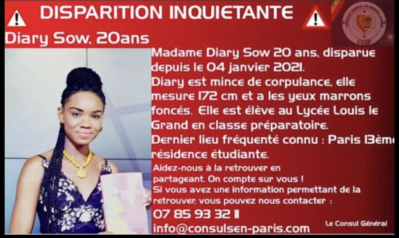 France : L'étudiante sénégalaise Diary Sow portée disparue a été vue pour la dernière fois à Toulouse.