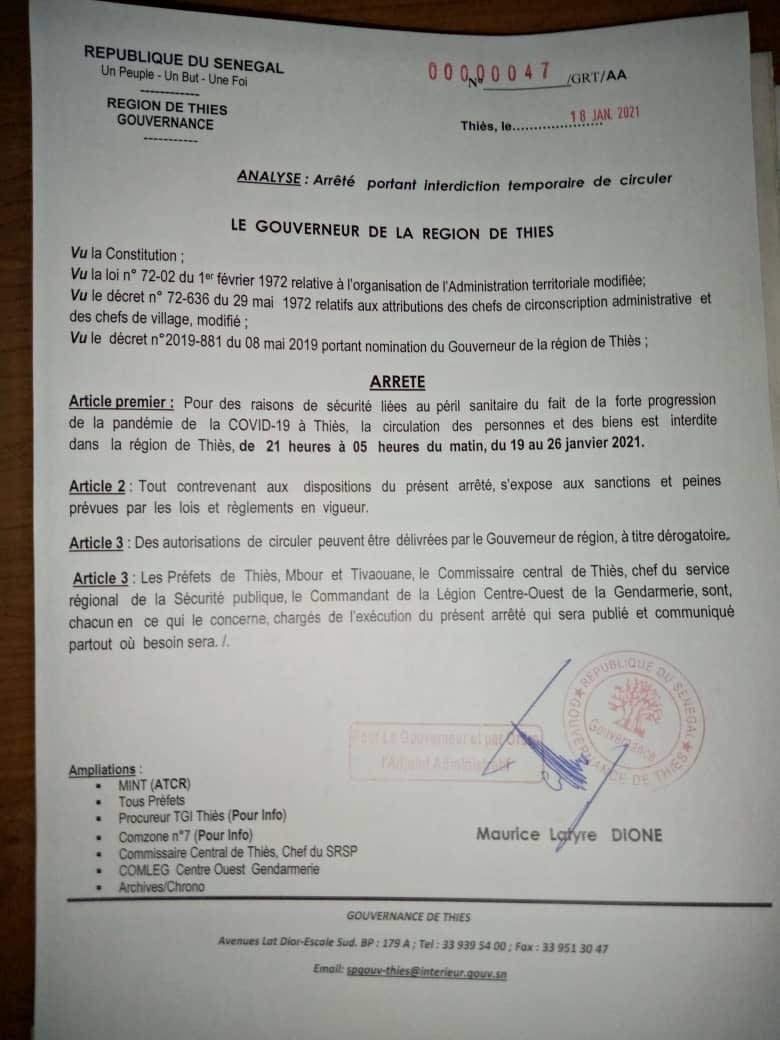 État d'urgence assorti de couvre-feu : Le Gouverneur de Thiès sort deux arrêtés. (DOCUMENTS)