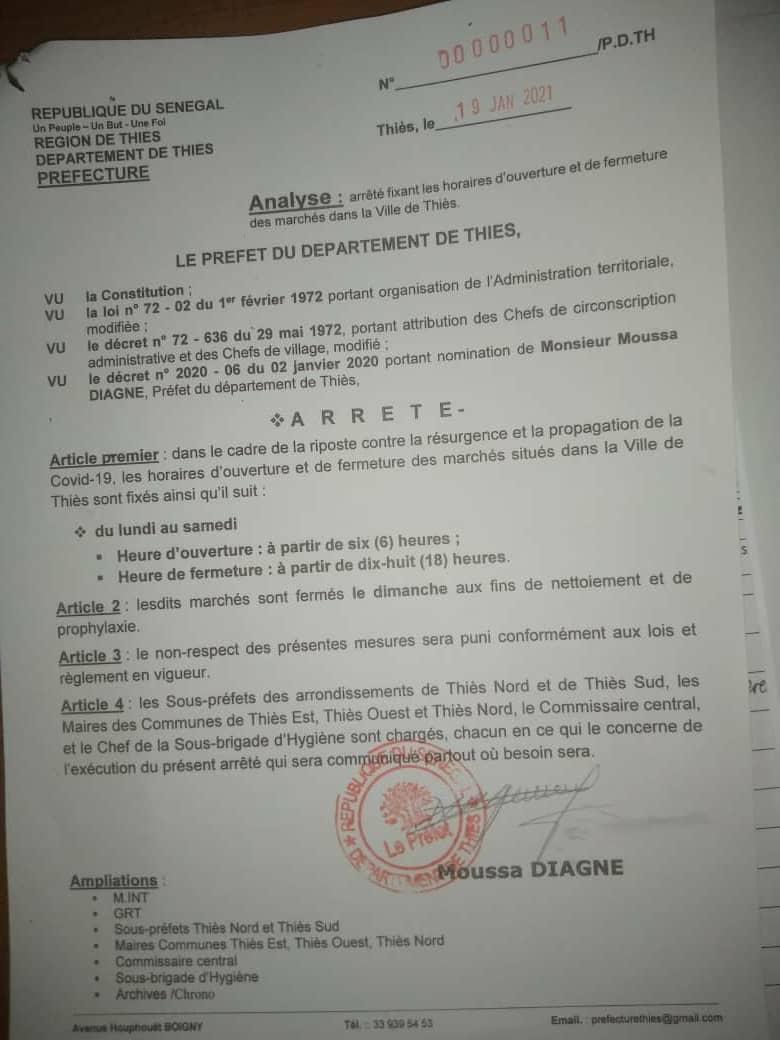 Thiès / Couvre-feu 2 ème vague : Cessation des activités de tous les marchés de Mbour, Thiès et Tivaouane à partir de 18 heures.