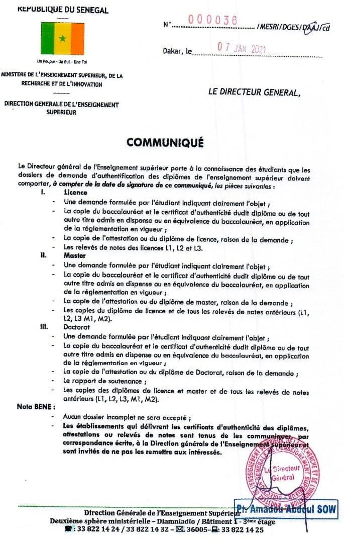 Enseignement supérieur : La composition des dossiers pour l'authentification des diplômes.